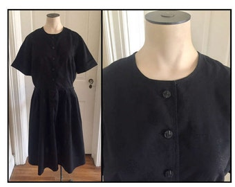 Vintage 1950s 60s Misses's Wildman Original Black Shirt Dress Chinoiserie Print 6 8 10