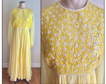 Vintage 1960s Misses' Yellow Victoria Royal Ltd Sequin Formal Dress Hong Kong 4 6