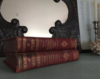 Set of Vintage Red with Gold Gilt Encyclopedia of Applied Electricity Books
