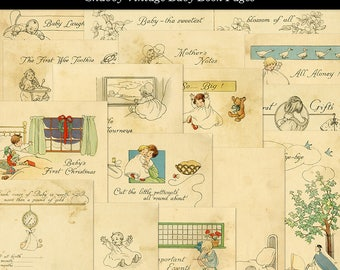 16 Shabby Baby Book Pages Yellowed and Aged Vintage Paper Digital Download JPG Format