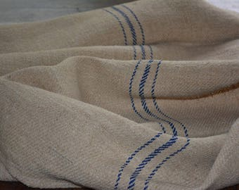 European Grainsack Fabric with Three Blue Stripes, Vintage French Grain Sack lovely French Country Decor, Vintage Supplies