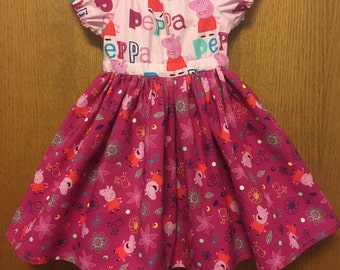 3T Peppa Pig Peasant Dress, Ready to Ship, Size 3T, Peppa Birthday, Violette Field Threads Pattern