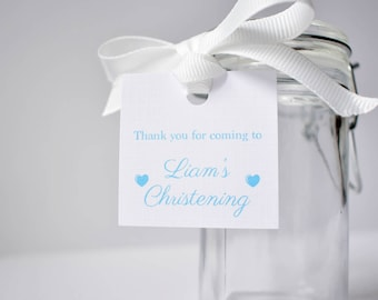 20 x Christening or Baptism thank you tags - Customise the name and date for favours or bonbonniere