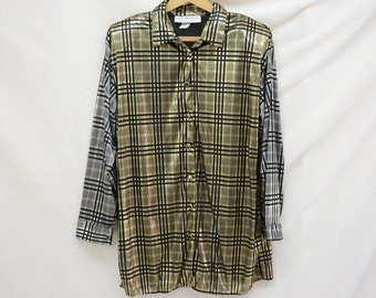 Maggie Lawrence Plaid Two Tone Silver and Gold Metallic Plus Size Women Button Down Blouse with Shoulder Pads Size L or XL 14/16