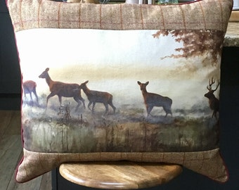 Stag and deer cushion. FREE UK P&P. Ex large stag print pillow. Countryside scene cushion. Panel by Wendy Darker. Bespoke cushion.