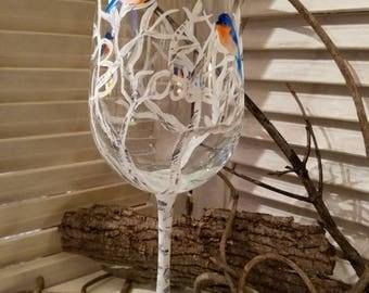 Birding, hand painted wine glass, bluebird, birch tree
