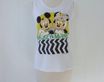 90's Mickey Mouse Tank Top Minnie Disney Tshirt Summer Disneyland Disneyworld Tee T Shirt S