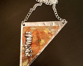 Flame Copper Triangle Necklace