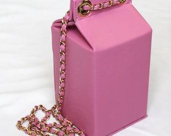 Pink Leather Milk Carton Bag