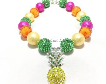 Toddler or Girls Pineapple Chunky Necklace - Yellow, Hot Pink, Orange and Green Fruit Necklace - Kids Pineapple Necklace - Tropical necklace