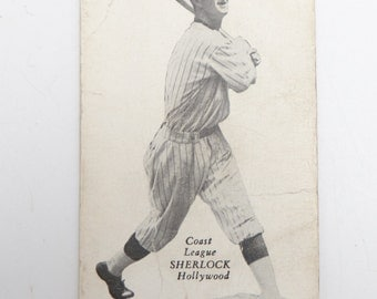 Antique Original ZeeNut 1932 Pacific Coast League Sherlock Hollywood Baseball Card, Vintage