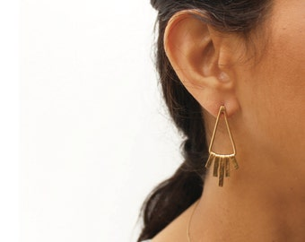 Gold fringe earrings Hammered fringe earrings Triangle gold earrings Gold sticks Earrings