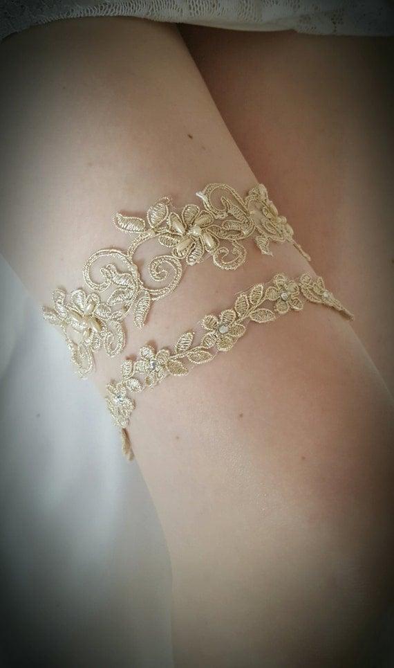 Gold Champagne Bridal Garter Set - Embellished wedding garter