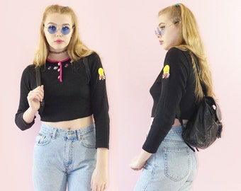 Tweety Bird 90s Ribbed Crop Top, Long Sleeve Patched Belly Shirt, Baby Rib 90s Grunge Crop Top, Looney Tunes, Women's Size X-Small