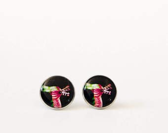 Chinese dragon earrings. Fantasy jewelry. Black, pink and green. Chinese lantern dragon.