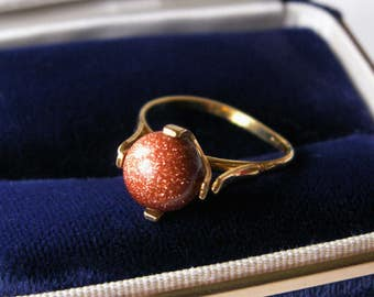 Vintage Gold Stone Bead Ring Round Sphere Gold Tone Dainty Ring Size 6 1/2