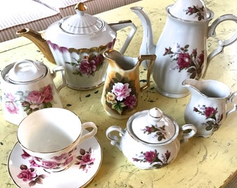 Vintage TEA PARTY LOT Mix Match Set Porcelain China Pink Rose Shower Luncheon Instant Collection Coffee Service Teapot Tea Cup Sugar Cream