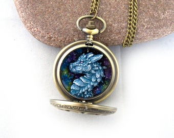 Ice Dragon Portrait Pocket Watch Dragon