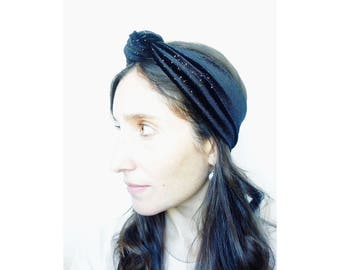Velvet headband, knot hairpiece, hair accessory, black headband, knot headband, hair wrap - handmade in solid colors of velvet