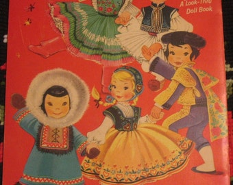 "Children ""round the World Paper Dolls 1955 Uncut Stand Up Dolls Wrap Around Dresses"