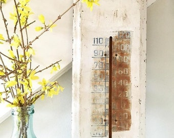 Vintage Metal Outdoor Thermometer Large Farmhouse Cottage Garden Decor Rusty Chippy White