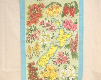 """Unused New Zealand Flowers Floral Tea Towel 19 1/2"""" x 29 3/4"""" Cotton-Linen Blend"""