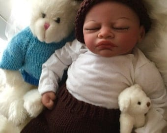 Completed Bi Racial Malcolm Completed Reborn Baby Doll from the Aisha 20 inch kit