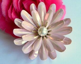 Pretty & Bold 1960's Iridescent Pink Enamel Flower Brooch w/ Faux Pearl Center- Pastel Mod 3D Garden Floral Chrysanthemum Daisy Spring