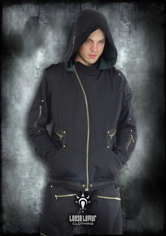 Sentinel Long Sleeve Jacket With Oversized Hood in Jersey Fabric & Dark Green Twill Lining