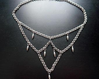 Vintage Renaissance Silver Bib Necklace - Gothic Medieval Chain Web Choker - Bohemian Necklace