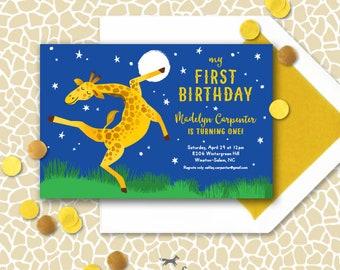 Giraffe Invitation Printable - Giraffes Can't Dance Birthday