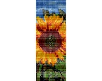 Sunflower Loom Bead Pattern, Bracelet Cuff, Bookmark, Seed Beading Pattern Miyuki Delica Size 11 Beads - PDF Instant Download