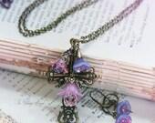 OOAK Faith Garden Cross Set V - Orchid & Lavender - Easter Flower Cross Necklace with Matching Earrings