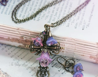 OOAK Faith Garden Cross Set V - Orchid & Lavender - Easter Flower Cross Necklace with Matching Earrings