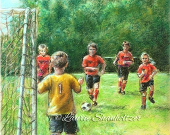 "Soccer sports art kids  Canvas or art paper print ""Little Defender by Laurie Shanholtzer"