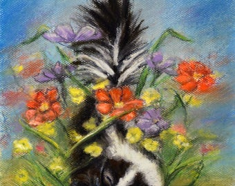 "Animal baby Skunk wildlife - ORIGINAL pastel painting - Pastel  art -""Essence of Spring"""