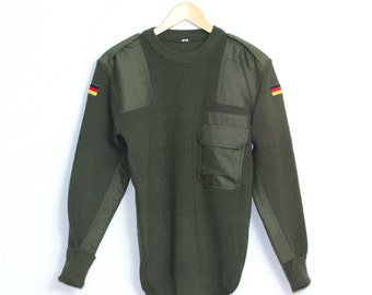 New Unissued German Army Surplus Olive Green Wool Jumper Pullover Combat Sweater