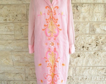Alfred Shaheen 70's Mod Dress Pink Designer Dress Psychedelic Medium Graphic Print 70's Dress Size 6 7
