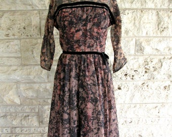 50's Dress Medium Sheer Overlay Peach and Black Velvet Mid Century Party Dress 50's Prom Dress Leslie Fay Size 6