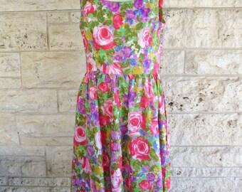 60's Hawaiian Dress Medium Neon Floral Bright Party Dress by Kahala Size 7 8 Beach Dress