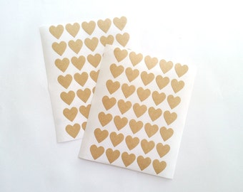 Small Heart Stickers, Kraft Paper Heart Stickers, Sticker tags ,Labels , Name tags, Size 20mm, Set of 2 sheets or 70 hearts