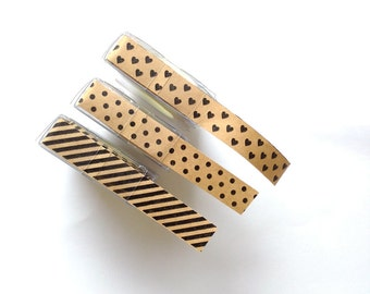 Kraft Paper Sticker Roll, Brown Paper Sticker, Kraft Paper Decoration Tape - Choose one: Striped or Polka-dot or Heart