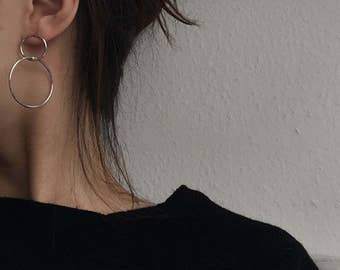 Geo interlock circle earings - large open circle earrings - dangle circle earrings