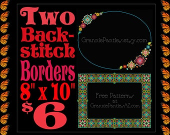 PDF Counted Cross Stitch PATTERNS Two Back-stitch Colorful Borders 8in X 10in Delicate Folk Art Embroidery Handcrafted Crafter Decor Gift