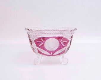 Vintage Hofbauer Crystal Footed Candy Bowl Compote Bleikristal German Cranberry Ruby Red Inlays Nut Dish Trinket Holder Etched Floral Design
