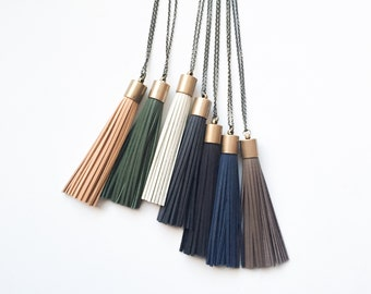 Leather Tassel Necklace | tassel necklace, leather tassel, tassel jewelry, boho necklace, boho tassel, gifts under 50,  gifts for her