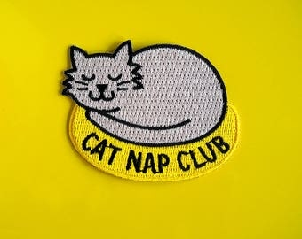 Cat Patch, Cat Nap Club Patch, Cute Kitten Patch, Iron On Patch, Jacket Patch, Fun Cat Patch, Embroidered Patch, Sleep Patch, Naps Patch