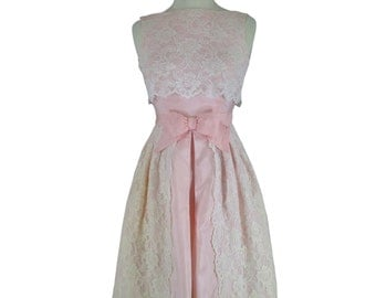 60s Pink Lace Party Dress - xs, sm