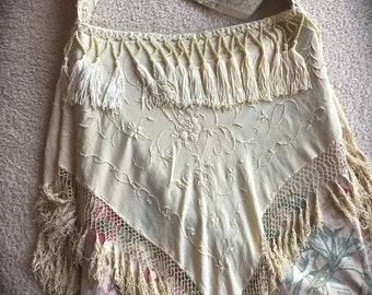 Izzy Roo  Couture Fringed Bag Vintage Embroidered Roses Florals  Cowgirl Gypsy Chic Whites and Cream Beauty