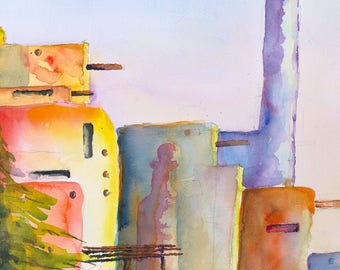 adobe rainbow, santa fe, pueblo, southwertern, desert, wall art, painting, watercolor,taos,  landscape, spanish, mexican , indian adobe